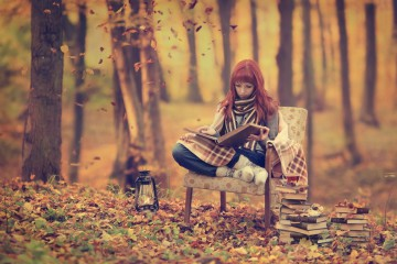 autumn-girl-read-book-tree-leaves-lamp