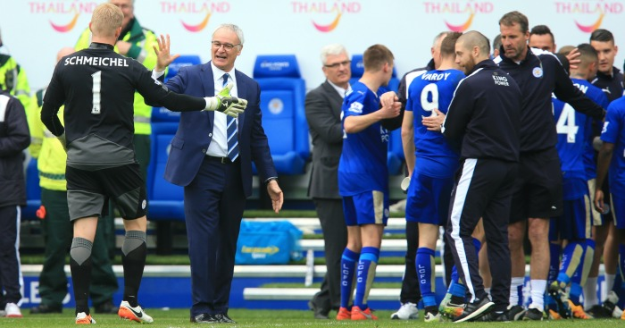 Claudio Ranieri celebrating Leicester City win