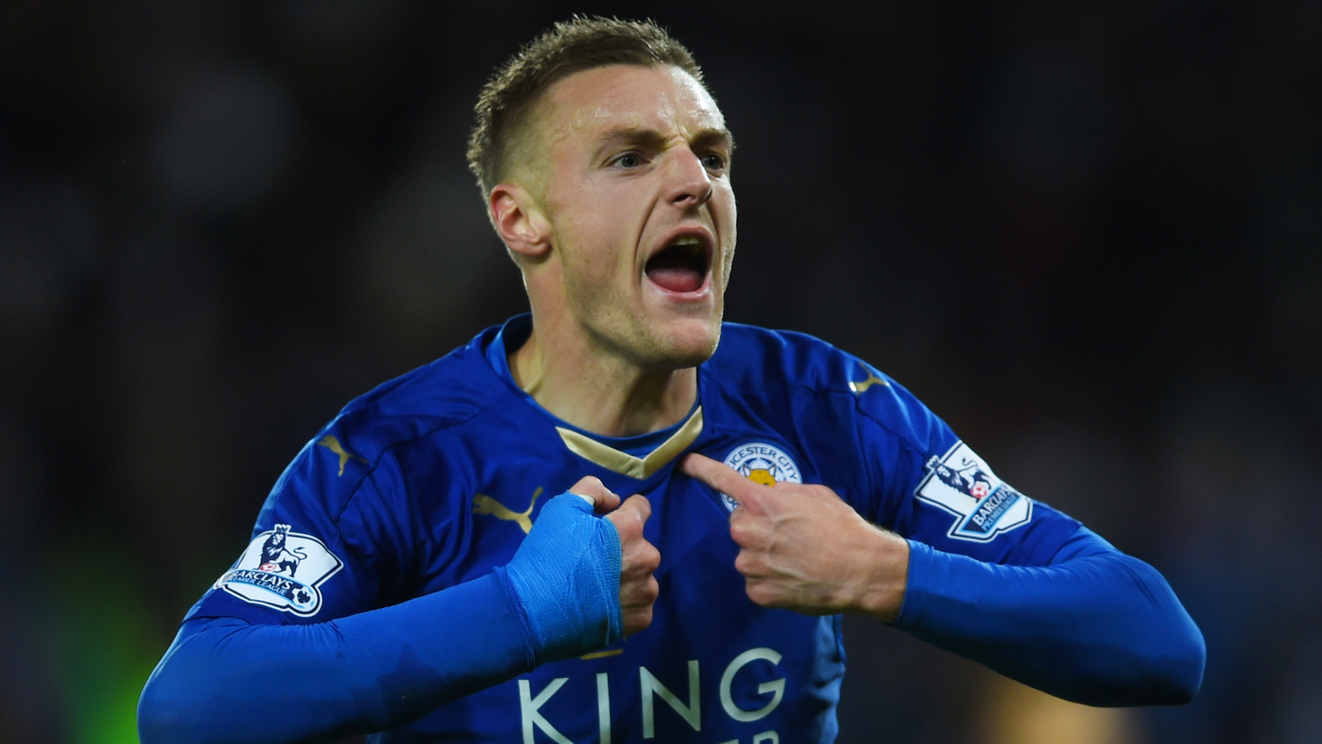 Jamie Vardy of Leicester City celebrates scoring his team's first goal during the Barclays Premier League match between Leicester City and Manchester United