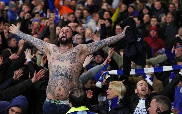 Leicester City fan after their team's road victory over Manchester City
