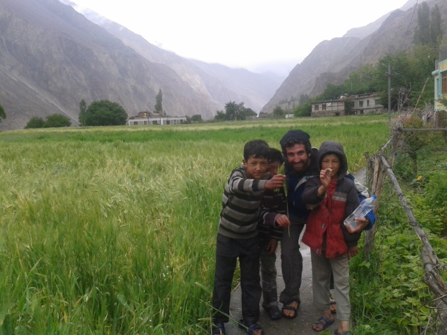 With children in the Nubra Valley