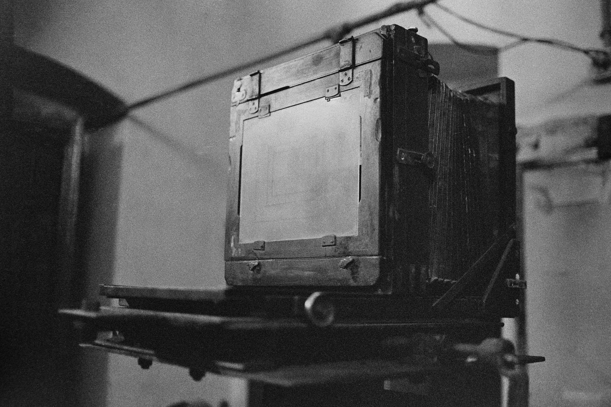 A large format camera inside the studio