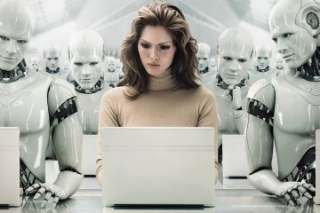 Businesswoman Surrounded by Robots --- Image by © Blutgruppe/Corbis