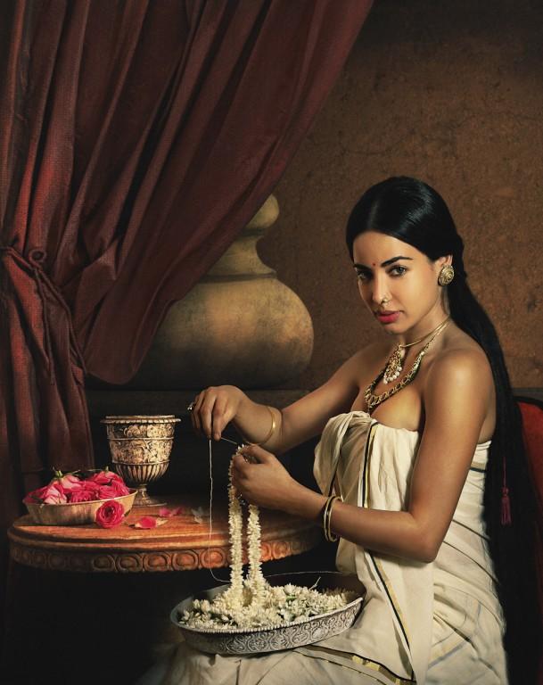 Rohit Chawla, Lady Making a Garland, featuring Ayesha Thapar Arora. Archival pigment print. Courtesy Tasveer