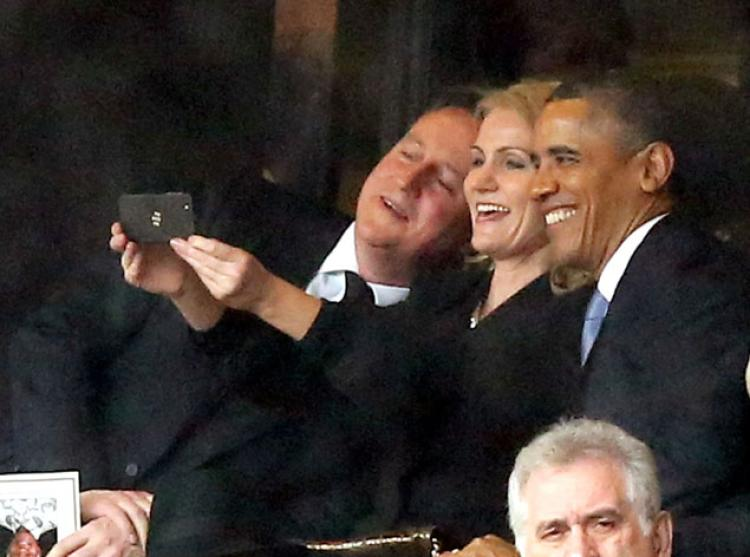 The Obama and Cameron selfie will be a part of the Saatchi exhibition