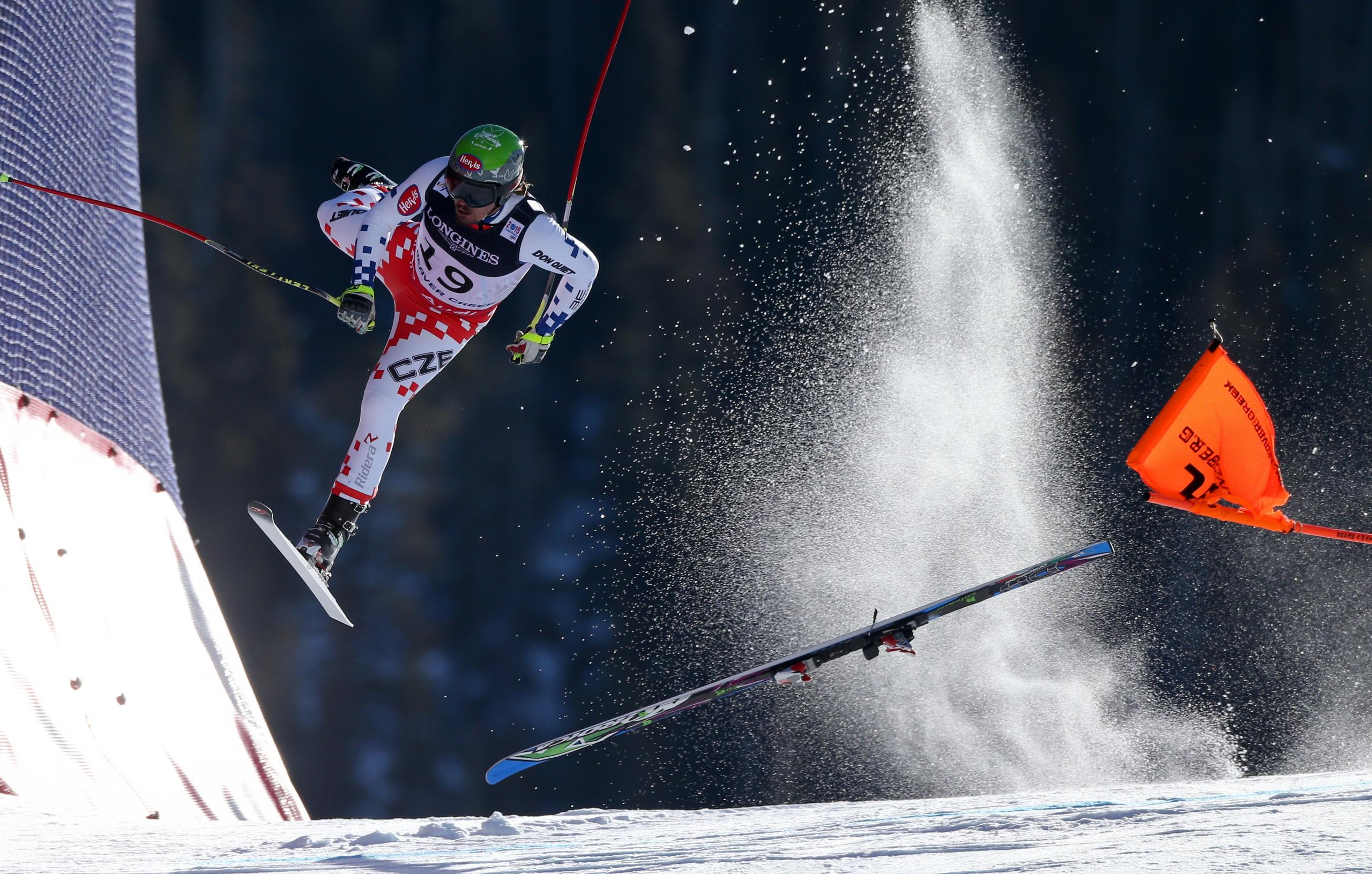 FIS World Championships by Christian Walgram. Czech skier Ondrej Bank crashes during the downhill portion of the alpine combined contest, at the FIS Alpine World Ski Championships. Bank stumbled and lost control just before the final jump. He was hospitalized with concussion and facial injuries.