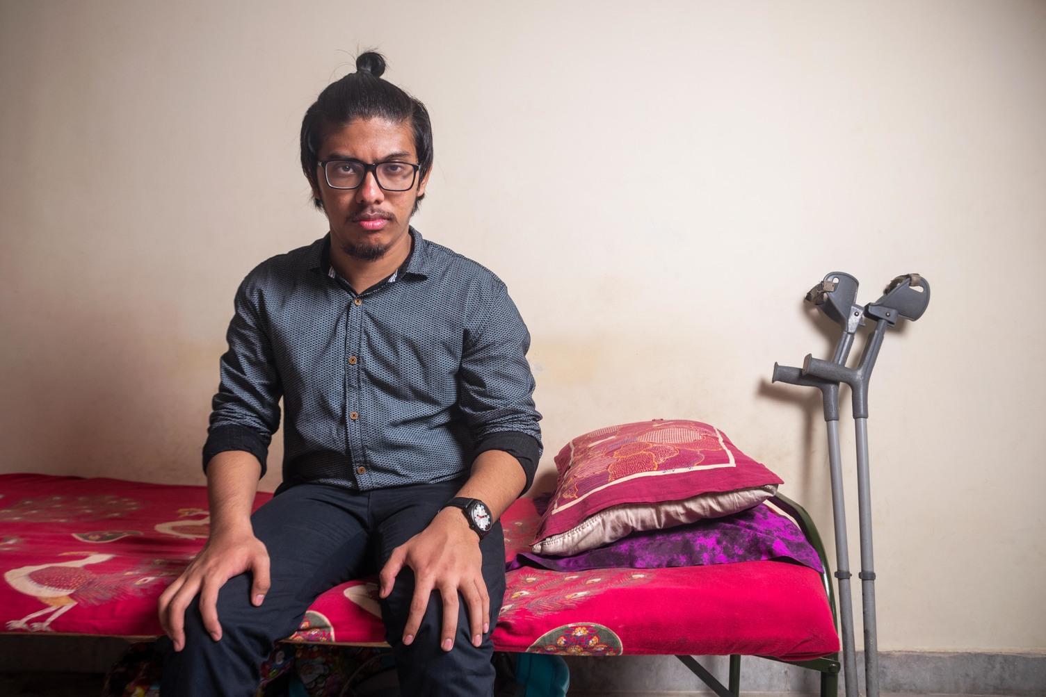 Adarsh Chetry studies at Motilal nehru College, Delhi University. Photographed at his residence in Satya Niketan