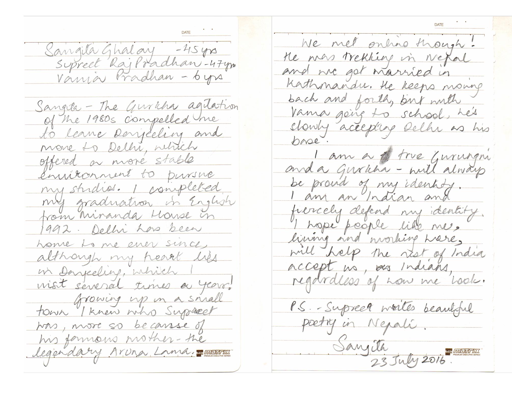 Sangeeta Ghalay chose to share her story via a note