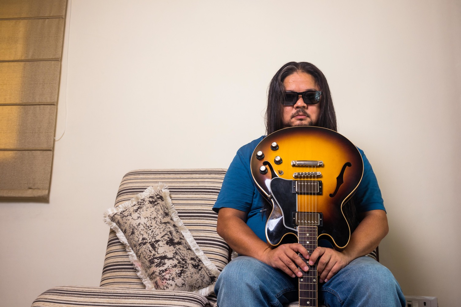 Sonam Sherpa is the lead guitarist of the popular band, Parikrama, photographed at his residence in Safdarjung Enclave, New Delhi